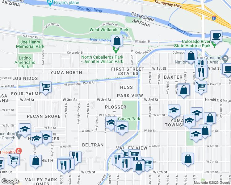 Street Map Of Yuma Arizona.1340 West 3rd Street Yuma Az Walk Score