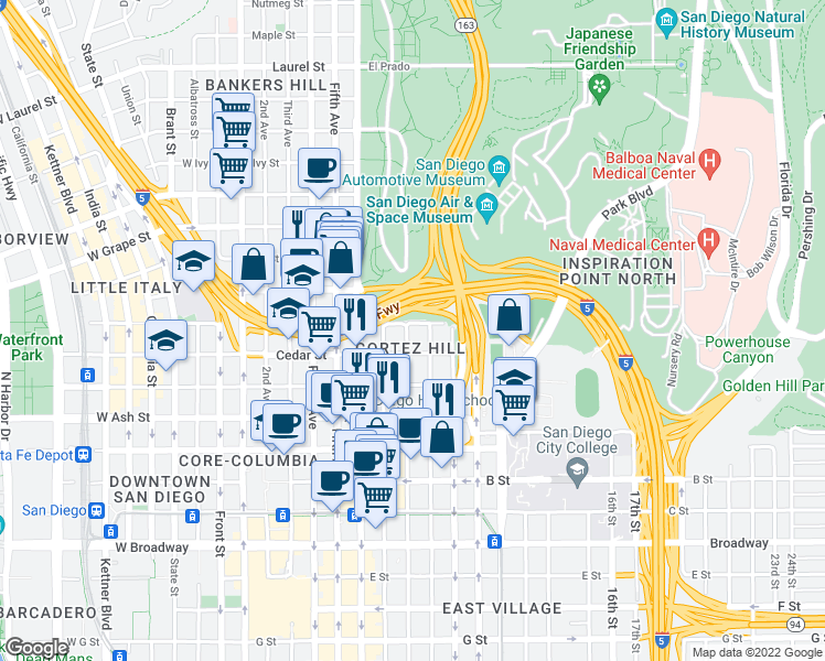 map of restaurants, bars, coffee shops, grocery stores, and more near 889 Date Street in San Diego