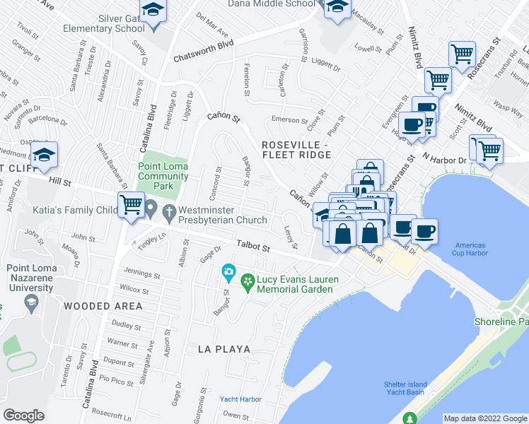 map of restaurants, bars, coffee shops, grocery stores, and more near Trumbull Street in San Diego
