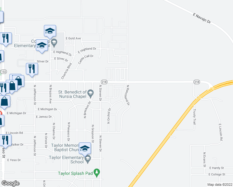 map of restaurants, bars, coffee shops, grocery stores, and more near 2100 East Settlers Pass in Hobbs