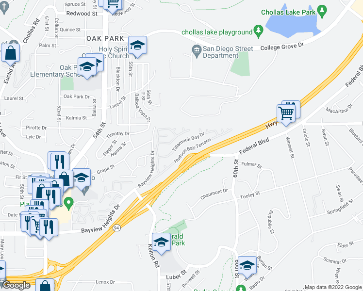 map of restaurants, bars, coffee shops, grocery stores, and more near 2003 Bayview Heights Drive in San Diego