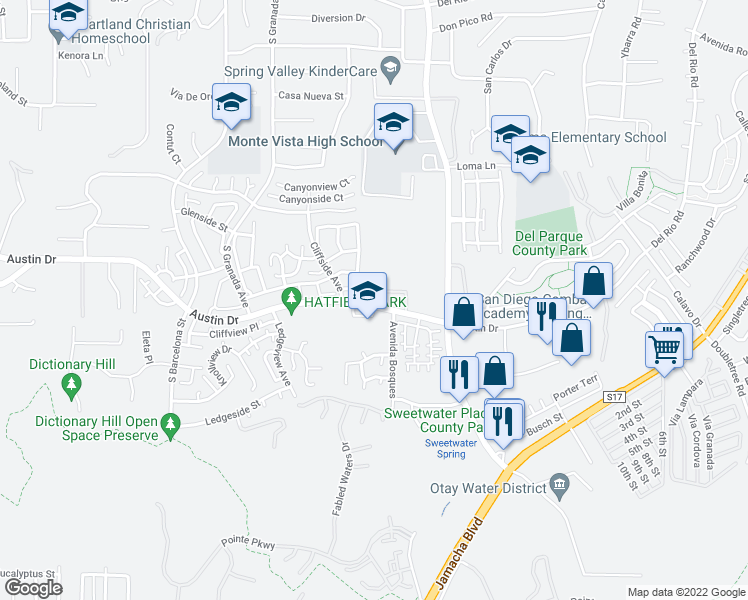 map of restaurants, bars, coffee shops, grocery stores, and more near 10130 Austin Drive in Spring Valley