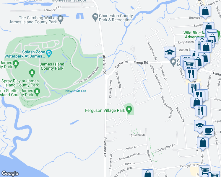 map of restaurants, bars, coffee shops, grocery stores, and more near Stono River Drive in Charleston