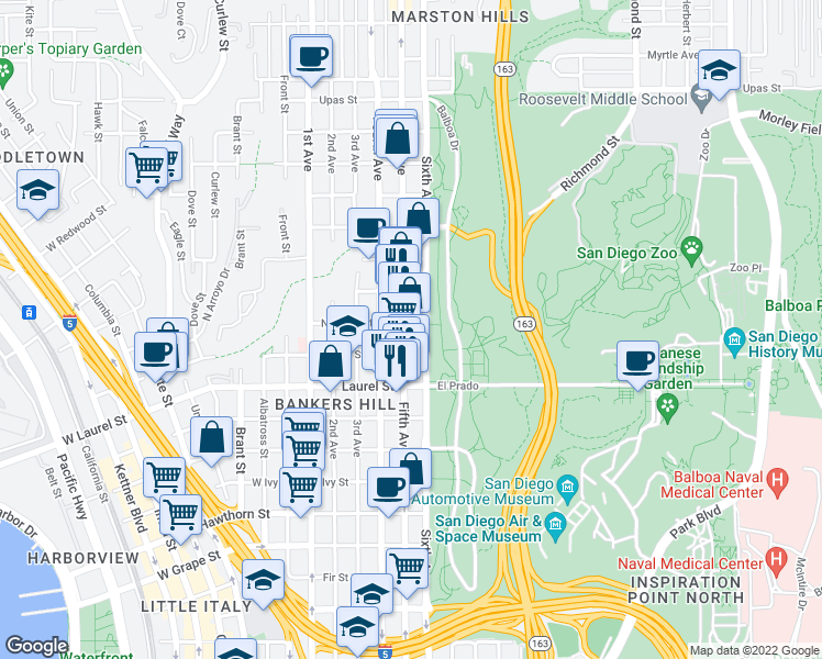 map of restaurants, bars, coffee shops, grocery stores, and more near 2665 Fifth Avenue in San Diego