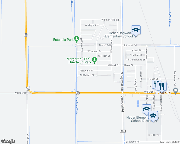 map of restaurants, bars, coffee shops, grocery stores, and more near 61 West Pheasant Street in Heber