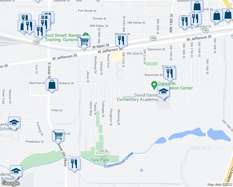 map of restaurants, bars, coffee shops, grocery stores, and more near 710 Manning Street in Grand Prairie