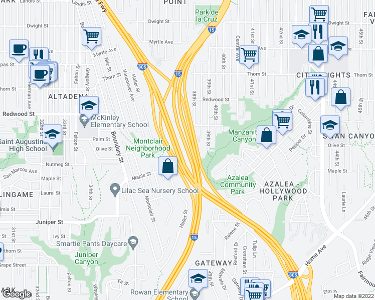 map of restaurants, bars, coffee shops, grocery stores, and more near Escondido Fwy in San Diego