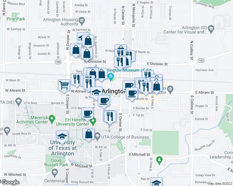 map of restaurants, bars, coffee shops, grocery stores, and more near  in Arlington