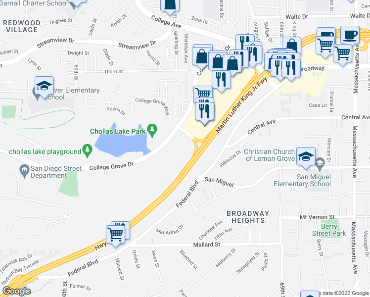 map of restaurants, bars, coffee shops, grocery stores, and more near Martin Luther King Junior Freeway in Lemon Grove