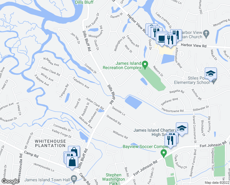 map of restaurants, bars, coffee shops, grocery stores, and more near 898 Dills Bluff Road in Charleston