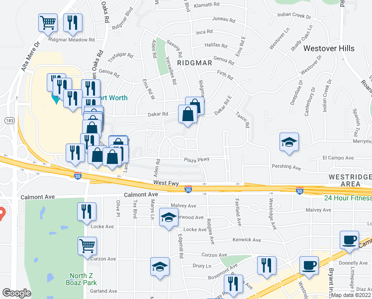 map of restaurants, bars, coffee shops, grocery stores, and more near 2300 Ridgmar Boulevard in Fort Worth