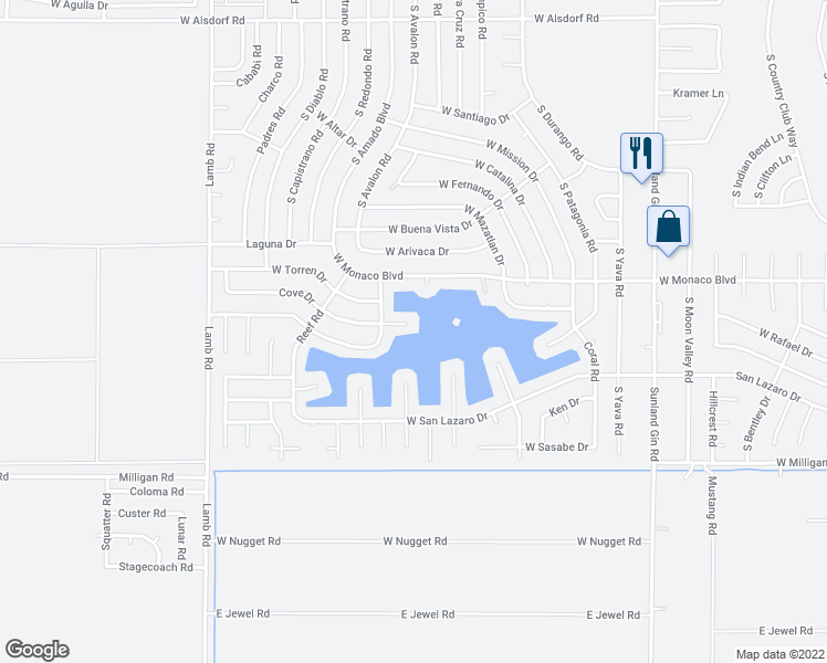 map of restaurants, bars, coffee shops, grocery stores, and more near 10535 Cove Circle in Arizona City