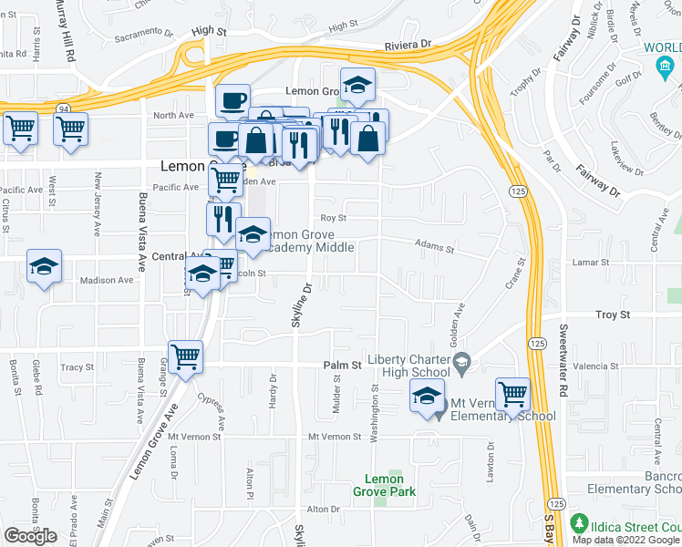 map of restaurants, bars, coffee shops, grocery stores, and more near Lincoln Street in Lemon Grove