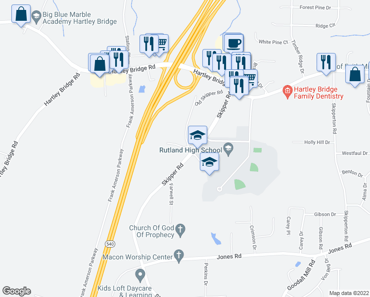 map of restaurants, bars, coffee shops, grocery stores, and more near 6192-6278 Skipper Road in Macon