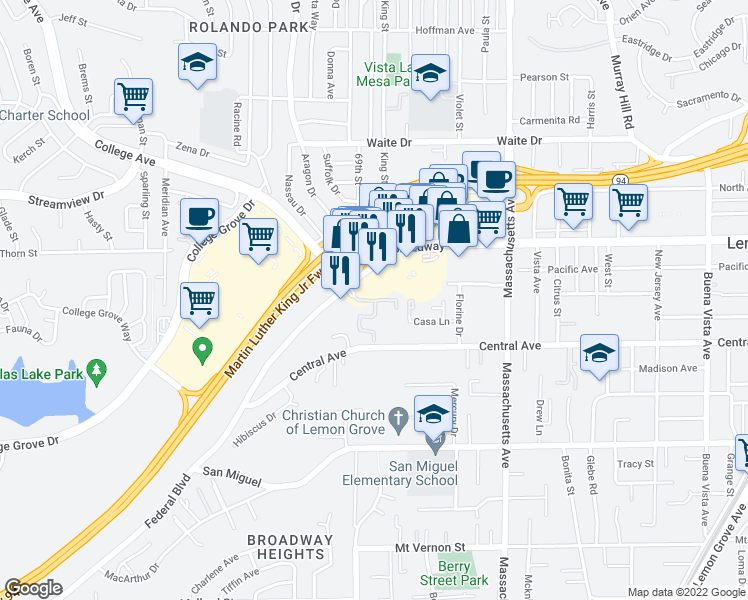 map of restaurants, bars, coffee shops, grocery stores, and more near 3291 College Place in Lemon Grove