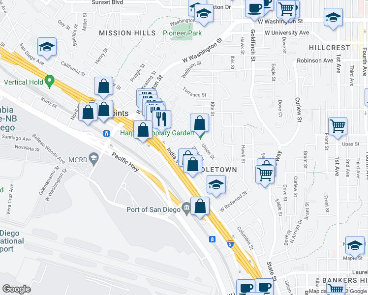 map of restaurants, bars, coffee shops, grocery stores, and more near 1524 Vine Street in San Diego