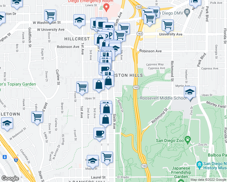 map of restaurants, bars, coffee shops, grocery stores, and more near 3515 Sixth Avenue in San Diego