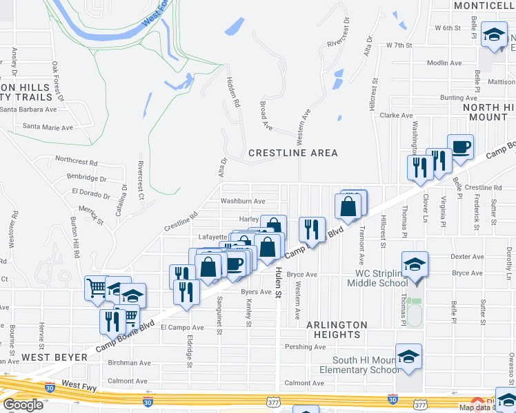 map of restaurants, bars, coffee shops, grocery stores, and more near 4629 Washburn Avenue in Fort Worth