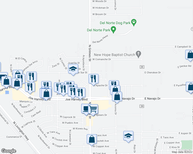 map of restaurants, bars, coffee shops, grocery stores, and more near 16 Stonecrest Court in Hobbs
