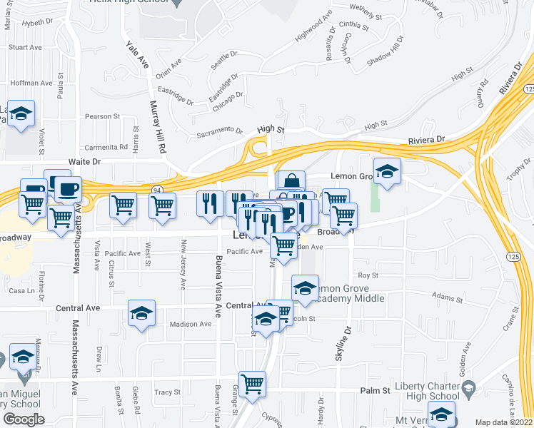 map of restaurants, bars, coffee shops, grocery stores, and more near 100 Citronica Lane in Lemon Grove
