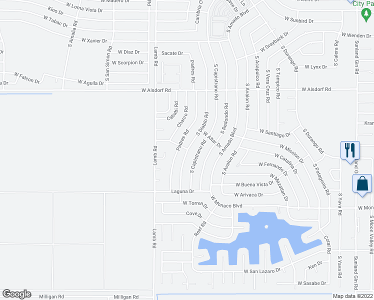 map of restaurants, bars, coffee shops, grocery stores, and more near 14980 South Diablo Road in Arizona City