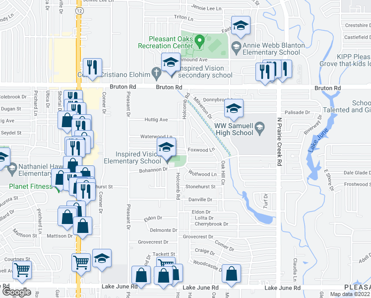 map of restaurants, bars, coffee shops, grocery stores, and more near Holcomb Rd &