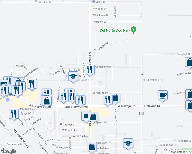 map of restaurants, bars, coffee shops, grocery stores, and more near 702 West Calle Sur Street in Hobbs
