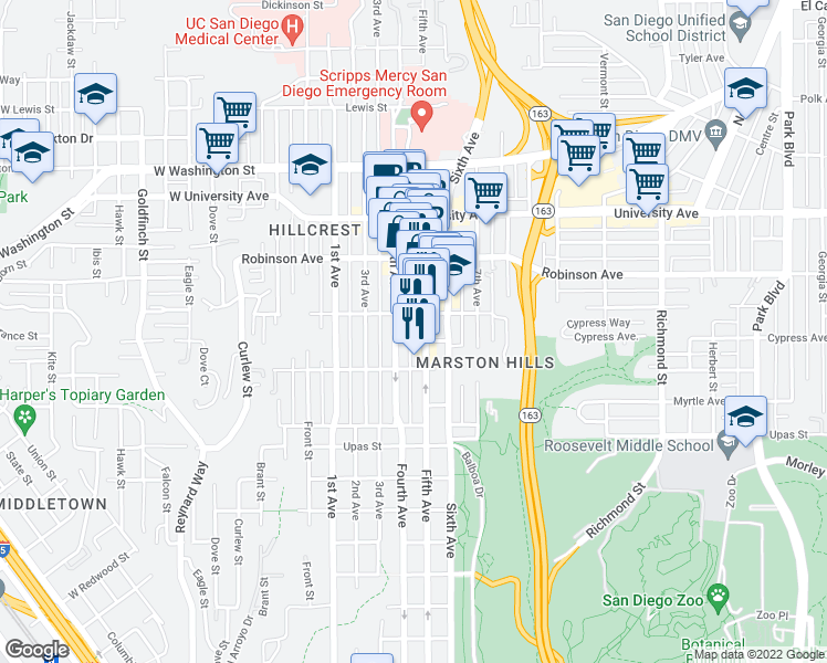 map of restaurants, bars, coffee shops, grocery stores, and more near 3650 5th Avenue in San Diego