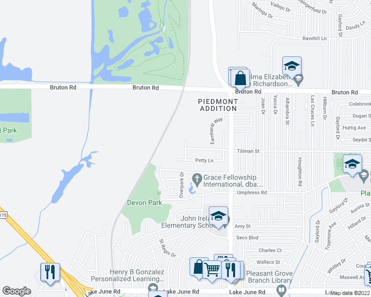 map of restaurants, bars, coffee shops, grocery stores, and more near Tillman St & Bodine Ln in Dallas