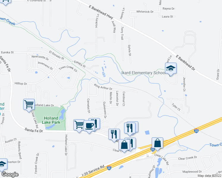 map of restaurants, bars, coffee shops, grocery stores, and more near King Arthur Drive in Weatherford