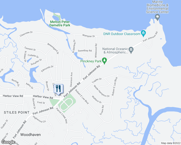 map of restaurants, bars, coffee shops, grocery stores, and more near 782 Canopy Cove in Charleston