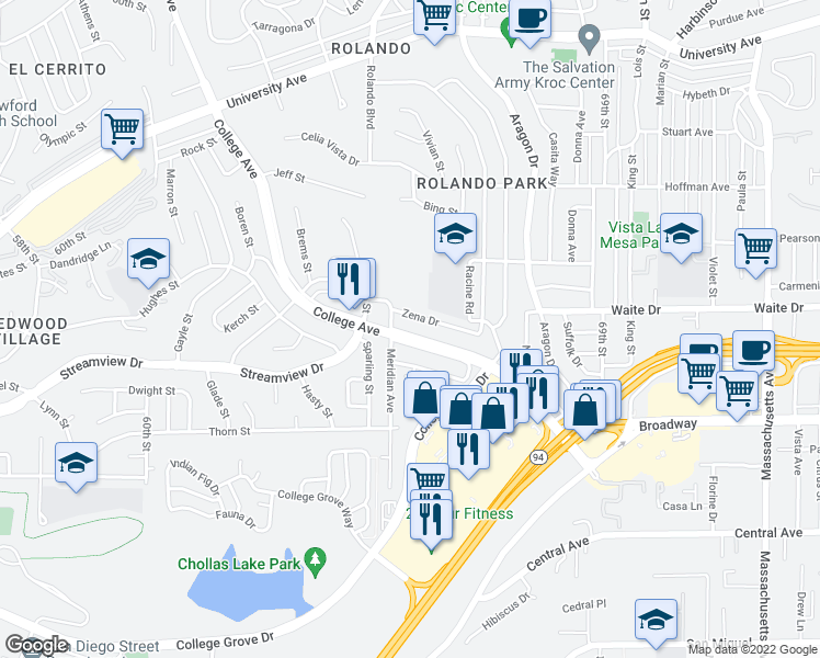 map of restaurants, bars, coffee shops, grocery stores, and more near 3549 College Avenue in San Diego