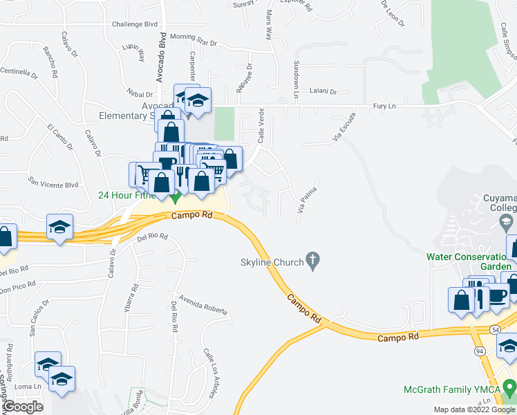 map of restaurants, bars, coffee shops, grocery stores, and more near 3638 Avocado Village Court in La Mesa