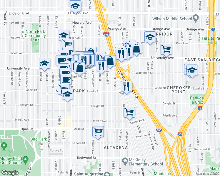 map of restaurants, bars, coffee shops, grocery stores, and more near 3721 Bancroft Street in San Diego