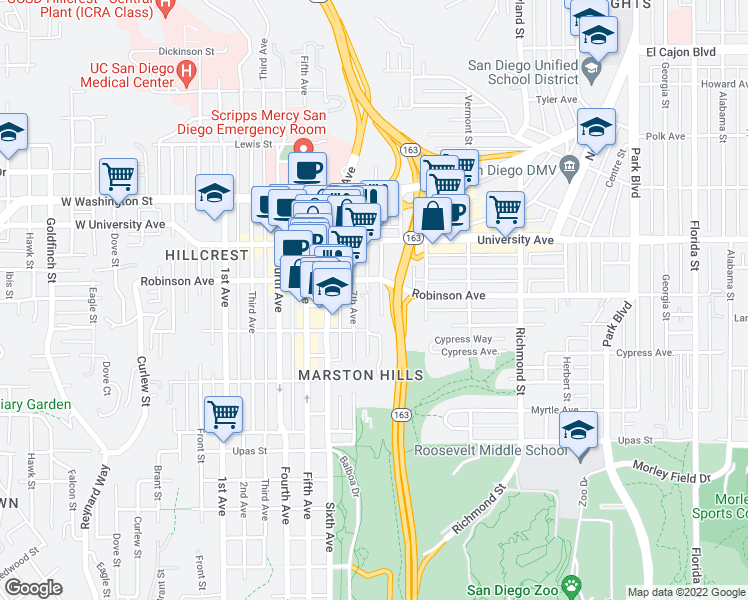 map of restaurants, bars, coffee shops, grocery stores, and more near 3760 8th Ave in San Diego