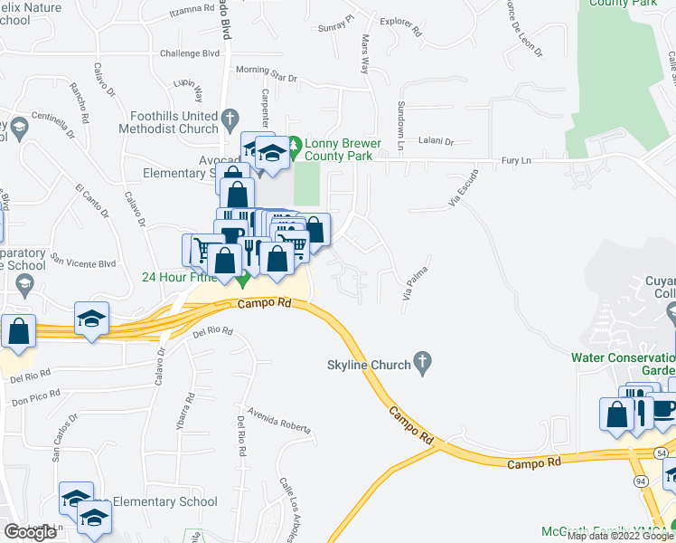 map of restaurants, bars, coffee shops, grocery stores, and more near 3674 Avocado Village Court in La Mesa