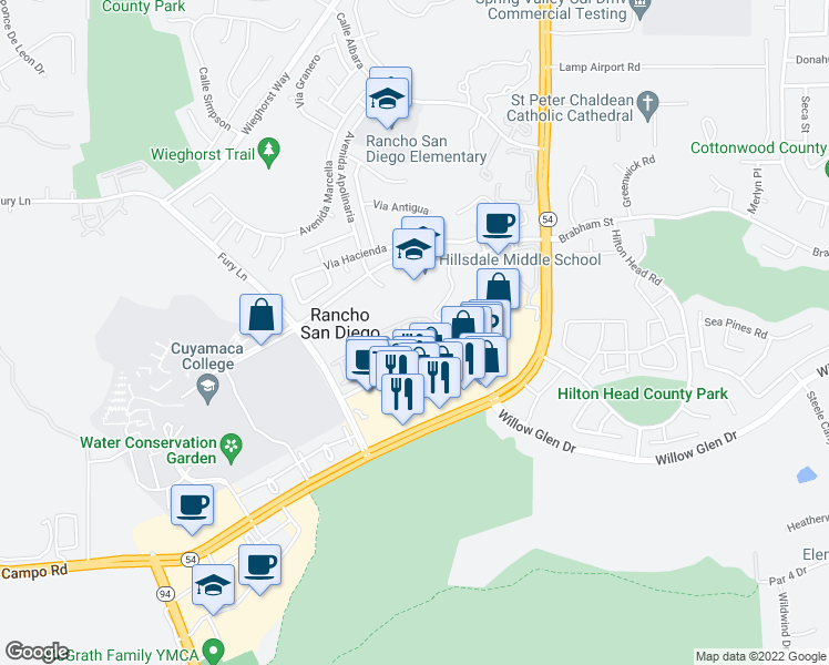 map of restaurants, bars, coffee shops, grocery stores, and more near 11424 Via Rancho San Diego in El Cajon
