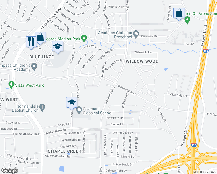 map of restaurants, bars, coffee shops, grocery stores, and more near 9905 Caravelle Court in Fort Worth