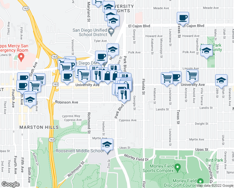 map of restaurants, bars, coffee shops, grocery stores, and more near 1707 Essex Street in San Diego