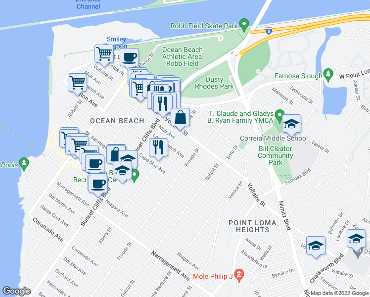 map of restaurants, bars, coffee shops, grocery stores, and more near 4641 Muir Avenue in San Diego