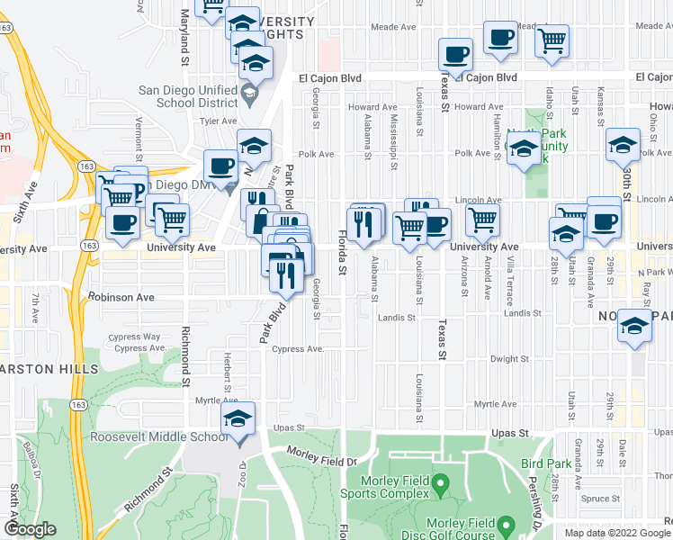 map of restaurants, bars, coffee shops, grocery stores, and more near 3790 Florida Street in San Diego