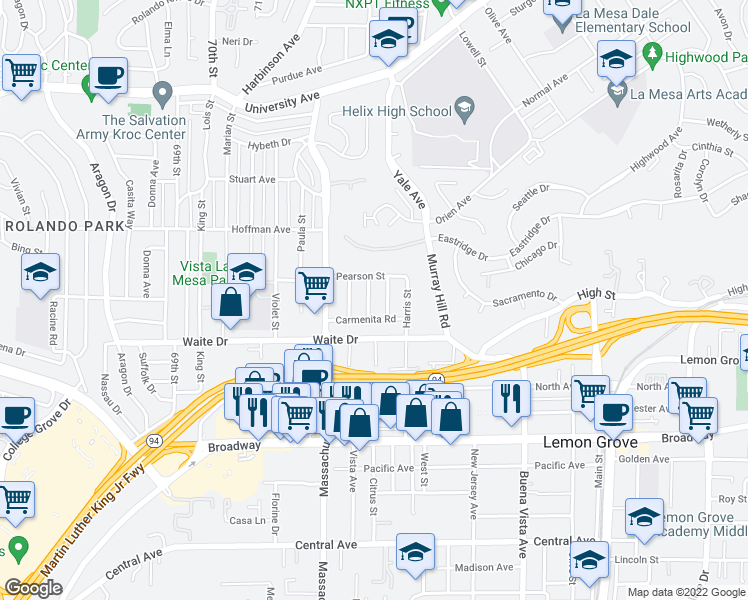 map of restaurants, bars, coffee shops, grocery stores, and more near 3871 Carancho Street in La Mesa