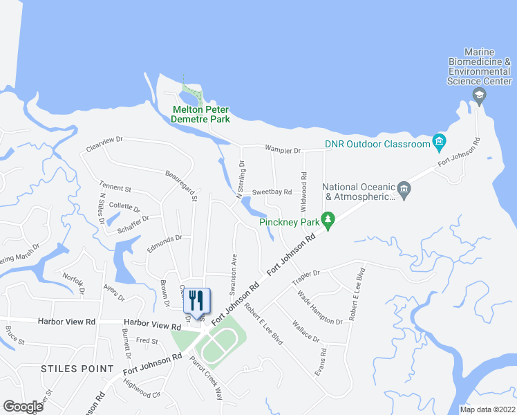 map of restaurants, bars, coffee shops, grocery stores, and more near 711 Knotty Pine Road in Charleston