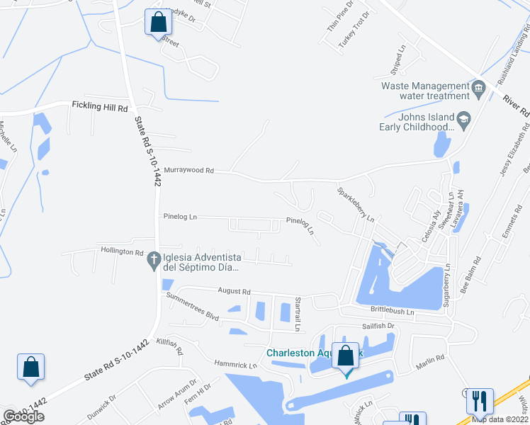 map of restaurants, bars, coffee shops, grocery stores, and more near 2838 Pinelog Lane in Johns Island
