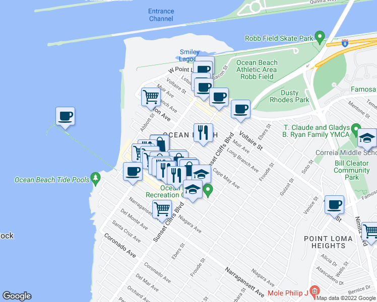 map of restaurants, bars, coffee shops, grocery stores, and more near Cable Street & Cape May Avenue in San Diego