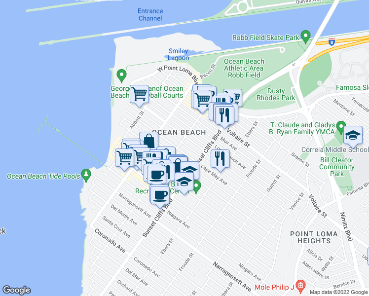 map of restaurants, bars, coffee shops, grocery stores, and more near 4878 Cape May Avenue in San Diego