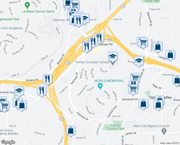 map of restaurants, bars, coffee shops, grocery stores, and more near 3704 Nereis Drive in La Mesa