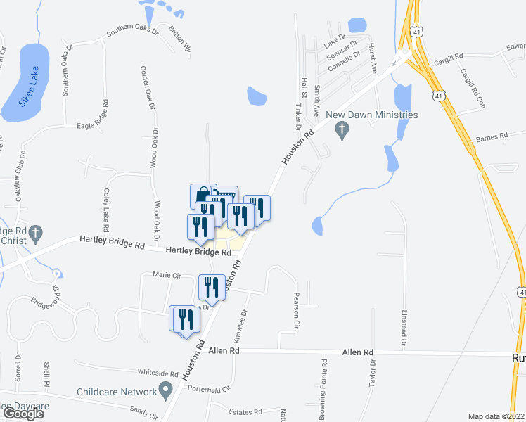 map of restaurants, bars, coffee shops, grocery stores, and more near 5571-5587 Houston Road in Macon