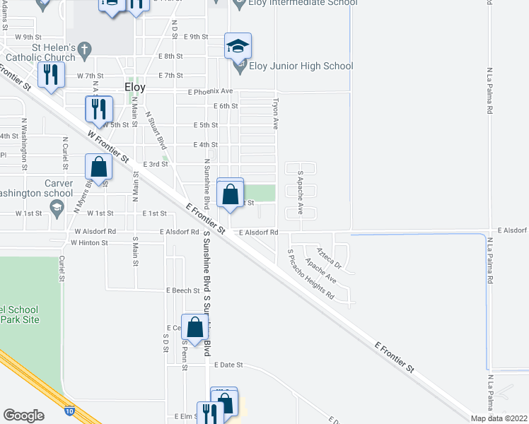 map of restaurants, bars, coffee shops, grocery stores, and more near 413 East 1st Street in Eloy