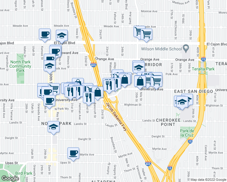 map of restaurants, bars, coffee shops, grocery stores, and more near 3930 Wabash Avenue in San Diego